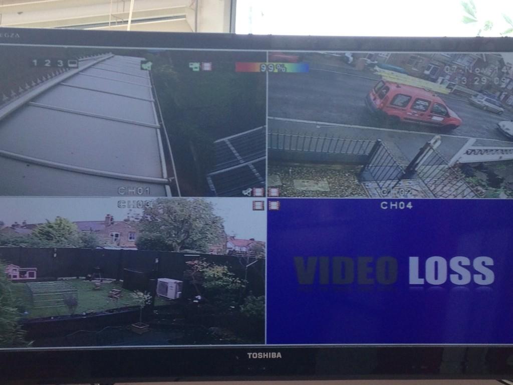 Screenshot of four video survailance cameras